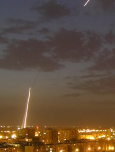 The launch of an Iron Dome interceptor missile. Credit: Emanuel Yellin