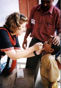Polio vaccination in India.
