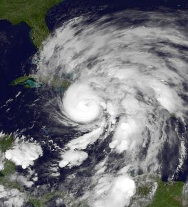 Hurricane Sandy over the Caribbean.