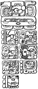 A sketch of stela C from Quirigua, which gives the date of creation as 13.0.0.0.0