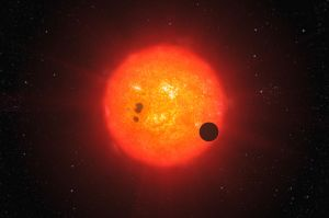 Artist's impression of GJ 1214b transiting its star. Credit: ESO/L. Calçada.