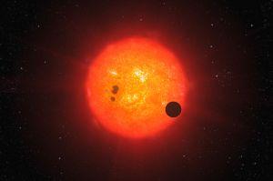 Artist's impression of GJ 1214b transiting its star. Credit: ESO/L. Calçada.