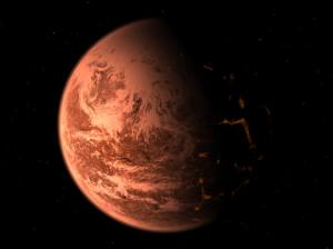 Artist's rendition of Gliese 876d if it is a solid super-Earth. Credit: Trent Schindler, National Science Foundation.