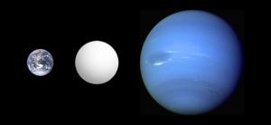 Size comparison of Earth, Neptune, and the super-earth CoRoT-7b. Credit: Aldaron (Wikipedia).