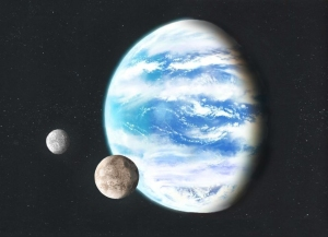 Artist's rendition of a waterworld. Credit: Luciano Mendez.