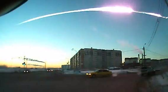 Still frame from a dashcam video of the Russian meteor. Credit: Андрей Борисович Королев (YouTube)