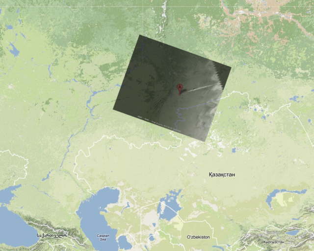 The meteor train as seen from space compared with a map of the area. Credit: Paolo Attivissimo.