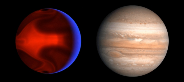 Artist's rendition of HD 80606b compared with Jupiter. Credit: Aldaron (Wikipedia).