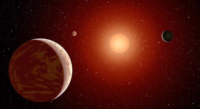 Artist's conception of planets orbiting a red dwarf. Credit: NASA/JPL-Caltech.