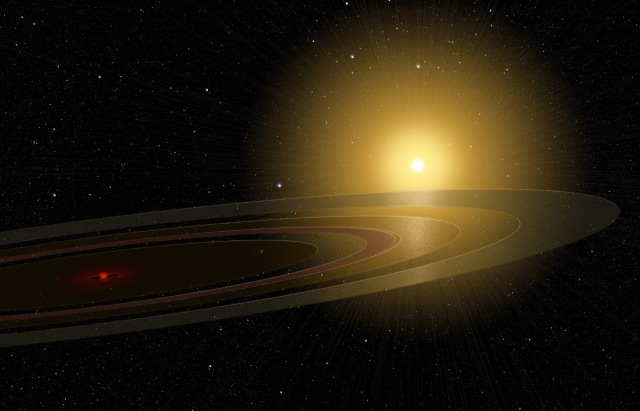 Artist's rendition of the suspected ringed planet. Credit: Michael Osadciw/University of Rochester.