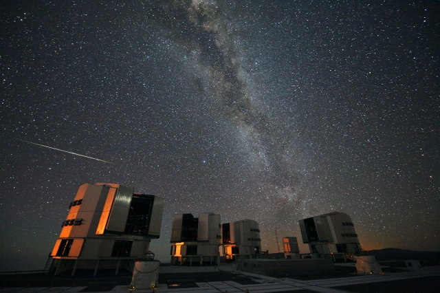 A Perseid meteor over the Very Large Telescope in Chile. Credit: ESO/S. Guisard.