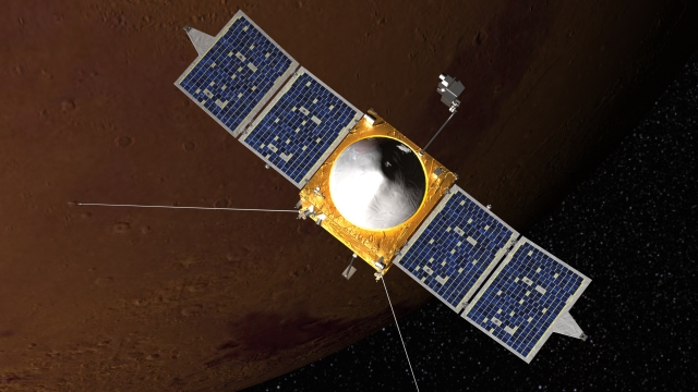 Artist's concept of the MAVEN spacecraft. Credit: NASA.