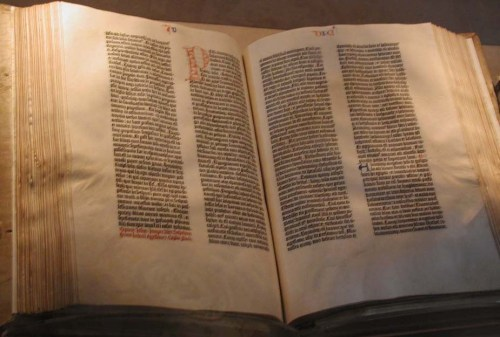 A Gutenberg Bible. Probably not the most practical version for reading. Credit: Mark Pellegrini.