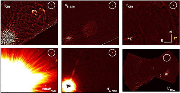 Images from various telescopes of HD 106906b. The bottom left is in visible light from the Hubble telescope. Printed in Bailey et al. (2013).