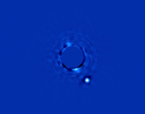 Infrared image of Beta Pictoris b from GPI. Photo processing by Christian Marois, NRC Canada.