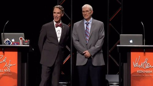 Bill Nye (left) and Ken Ham (right) at their debate at the Creation Museum. Credit: Answers in Genesis (YouTube).