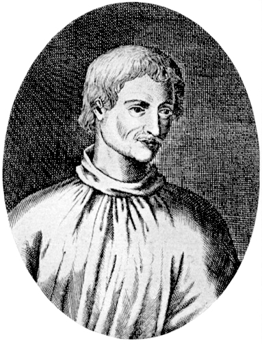 The earliest surviving depiction of Giordano Bruno, believed to be based on a contemporary portrait.