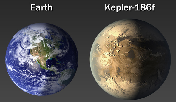 Size comparison of Earth and Kepler-186f. Credit:  NASA Ames/SETI Institute/JPL-CalTech.