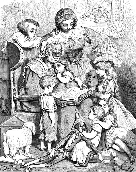 Mother Goose reading fairy tales. Illustration by Gustave Doré (1866).