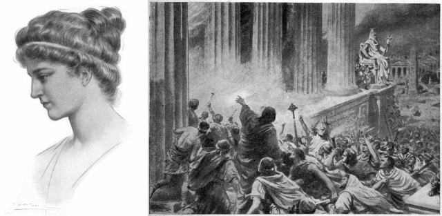 Left: portrait of Hypatia. Right: illustration of the burning of the Library of Alexandria in 391.