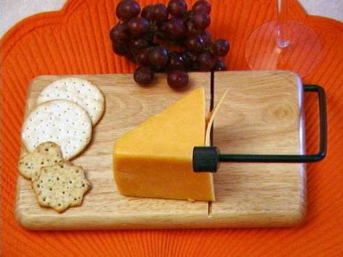 A cheese cutting wire in action.