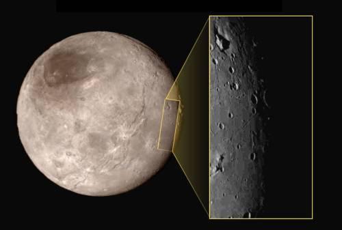 Close-up of Pluto's large moon, Charon. Credit: NASA.