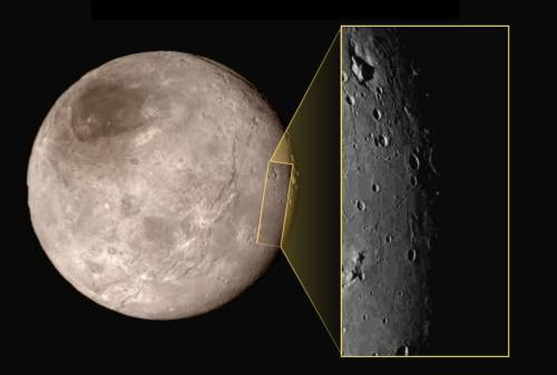 Close-up of Pluto's large moon, Charon. Credit: NASA.