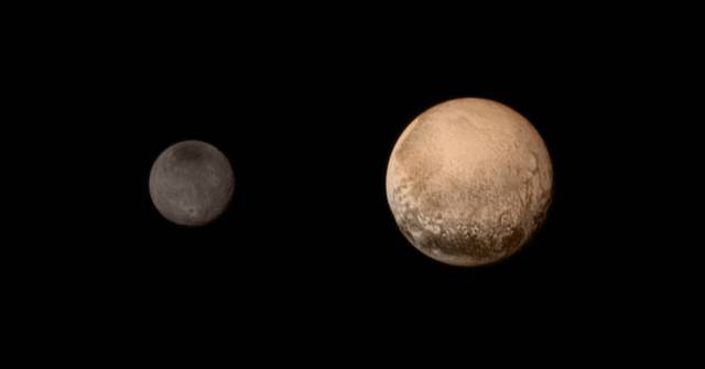 Pluto (right) and Charon (left) as seen by New Horizons, July 12, 2015