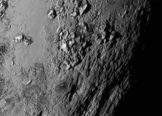 Closeup of the equatorial regions of Pluto. Credit: NASA.