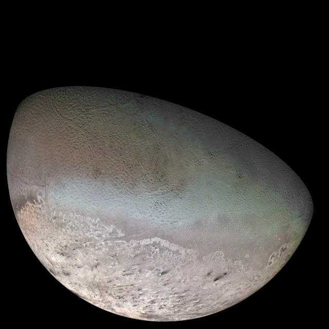 Triton as imaged by Voyager 2.