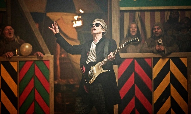 Yes, that is the Doctor rocking out in 1138 AD. Credit: Simon Ridgway/BBC via The Guardian.